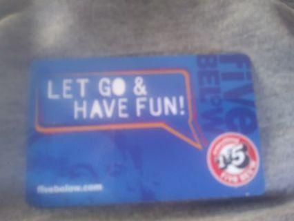 5below giftcard $5.00