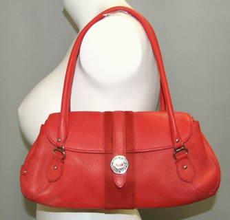 Cole Haan Red Pebbled Leather Satchel Purse Village H04 Euc