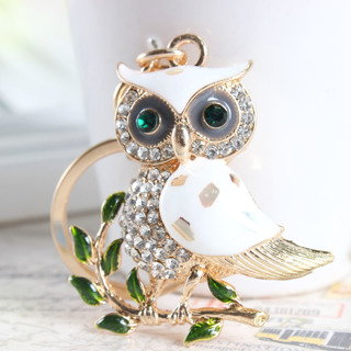 Cute Owl Branch White Crystal Charm Purse Handbag Car Key Keyring Keychain Party