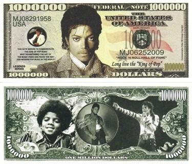 Michael Jackson Million Dollar Bill Collectible Fake Play Funny Money $ Novelty Note