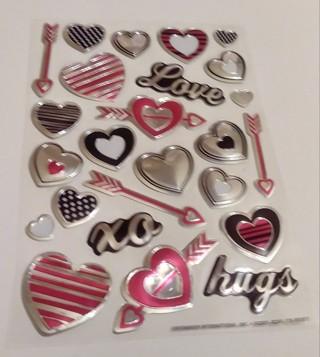 VALENTINES METALLIC FOIL STICKERS 2 SHEETS HEART LOVE HUGS XO ARROW