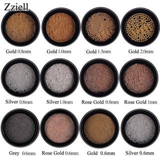 0.6/0.8/1mm Mini Small Stainless Steel Beads Nails Art Decorations Gun Grey Rose Gold Caviar DIY T
