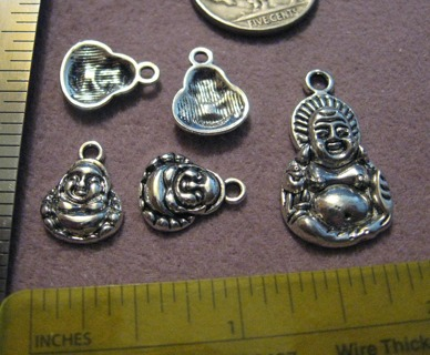 2 Silvertone Pewter Mini Buddha Charms ~ GIN gets 1 large also