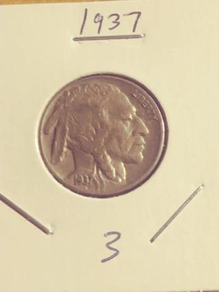 1937 Buffalo Nickel! Nice Horn! 316