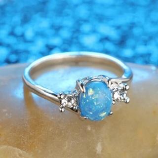 Blue Fire Opal Ring Size 6