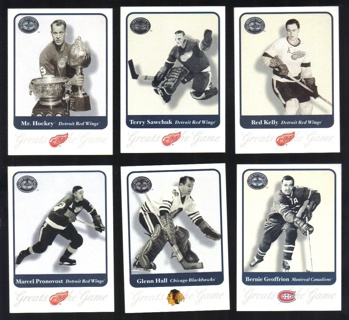 2001-02 Fleer Hockey Greats of the Game 6-Card Lot - All Listed - Red Wings Blackhawks Canadiens
