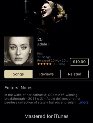 "iTunes copy of ""25"" by Adele $10.99 album"