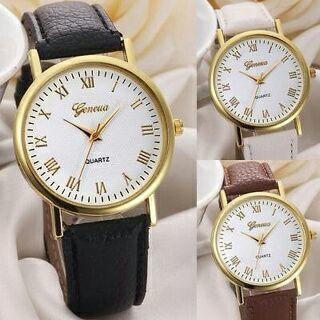 Women Geneva Fashion Vintage Leisure Dial Leather Band Analog Quartz Wrist Watch
