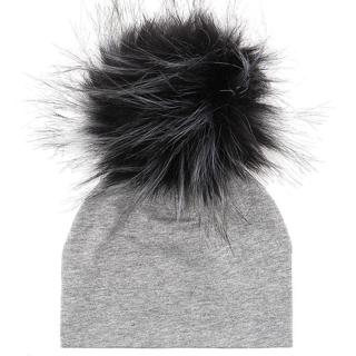 GZHilovingL Soft Cotton Faux Fur Pompom Beanies Hats For Newborn Baby Boys Girls Autumn Winter Kid