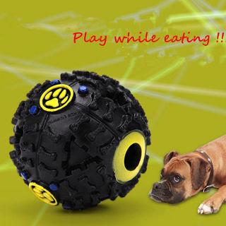 Giggle Ball Pet Dog Sound Training Chew Treat Holder Toy Food Dispenser Black