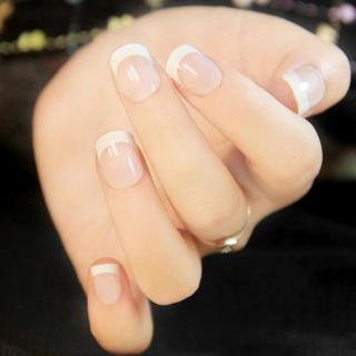 24Pcs Natural French Short False Nails 3 Styles Acrylic Classical Full Artificial Nails for Home O