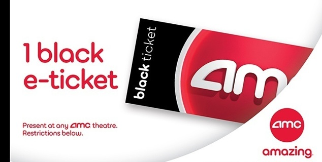 ★ 1 AMC Black Movie Theater Ticket $15 Value ★