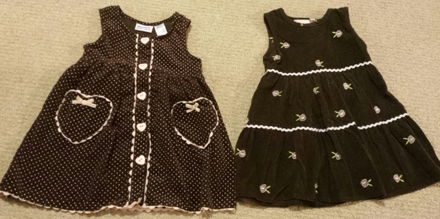 TWO Girlie Brown And Pink Corduroy Dresses! Both Sz 3T Low GIN!!