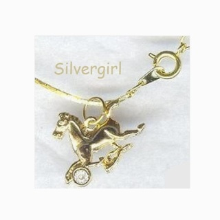 Gold Plate Horse with Tiny Diamond Necklace
