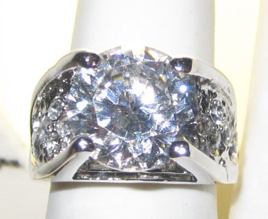 ONE OF A KIND WHITE CZ AND WHITE CZECH CRYSTALS RING!!!!!