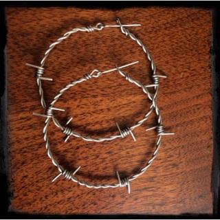 1 1/2 inch Sterling Silver Barbed Wire Hoop Earrings