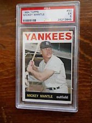 1964 Topps PSA EX 5 #50 Mickey Mantle Card!