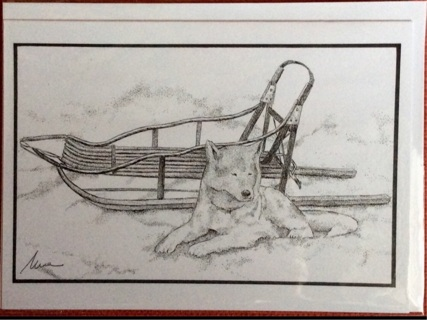 """HUSKY AND SLED - 5 x 7"""" art card by artist Nina Struthers - GIN ONLY"""