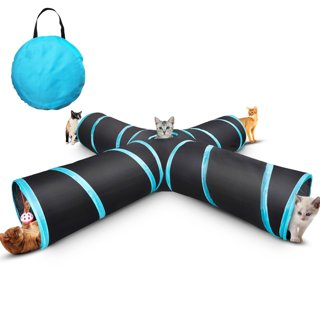 NEW 4-Way Cat Tunnel Pet Play Tunnel Tube Toy Bell Toy & Soft Ball Toy Cat Puppy Kitty Kitten Rabbit
