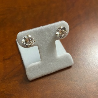 14k Yellow Gold and 8mm CZ Stud Earrings.