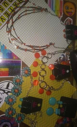 ❇Jewelry Lot❇ Turquoise and Orange - Earrings Necklaces