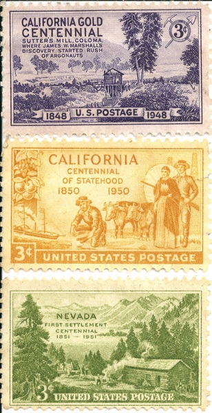 Free 3 Cent U S Postage Stamps 1948 California Gold Centennial 1950 Calif Statehood Amp 1951