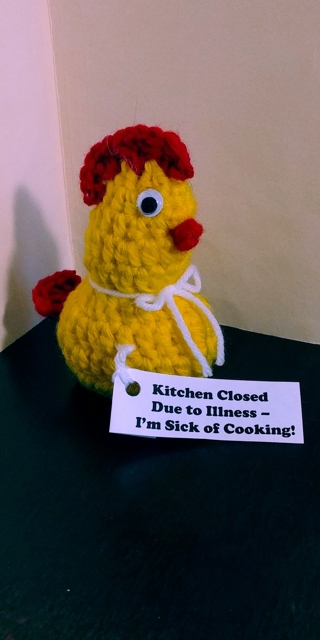 Crochet Chicken (B-7610) Yellow/Red trim -- Kitchen Closed due to Illness - I'm sick of Cooking!