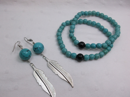 Turquoise Color Stretch Bracelets w Earrings
