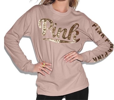 Pink OVERSIZED Long Sleeve Tshirt~Large~Victoria's Secret~