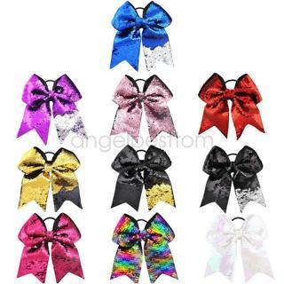 8 inch Mermaid Cheer Bow Elastic Hair Band Cheerleading Girls Hair Accessories