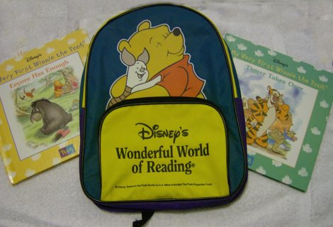 *DISNEY* Pooh Bear Back Pack With Two Free Books