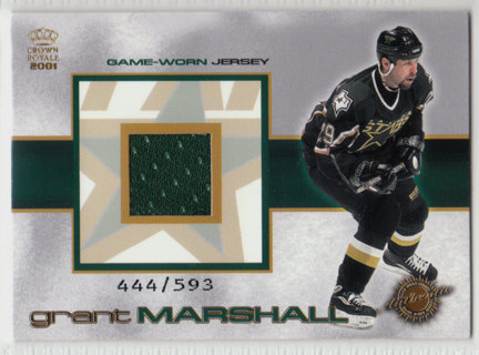 2000-01 Pacific Crown Royale Game-Worn Jersey Grant Marshall card #444/593