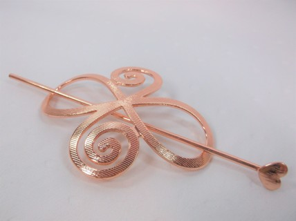 3in Copper Color Swirl Bun Holder w 5in Heart Spike/Pin