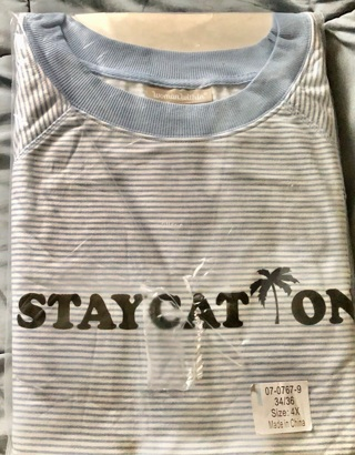 """BNIP Size 4x, Blue / White Striped Long Sleeved """"STAYCATION"""" T-shirt"""