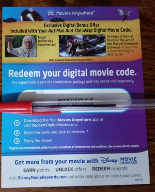 NEW - Marvel Ant-Man & Wasp Digi Code