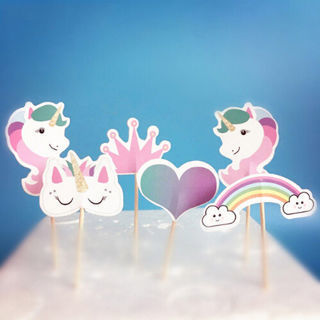 24PCs Unicorn Cupcake Toppers Picks Birthday Decor Kids Party Kids Paper Favor