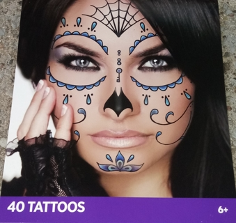 HALLOWEEN FACE TATTOOS 2 SHEETS LOT 3