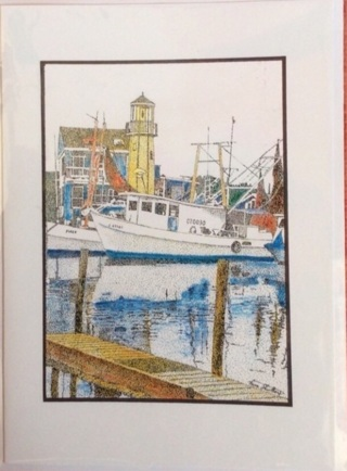 """CLEAR LAKE HARBOR - 5 x 7"""" art card by artist Nina Struthers - GIN ONLY"""