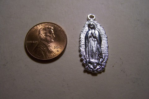 Virgin of Guadalupe Shiny Pewter Mexican Milagro Charm - Mexico