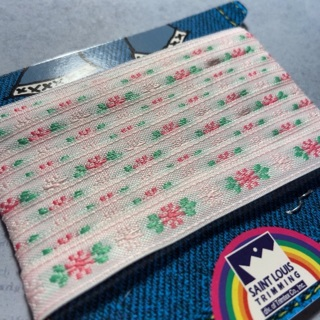 Vintage trimtex woven floral ribbon in pink