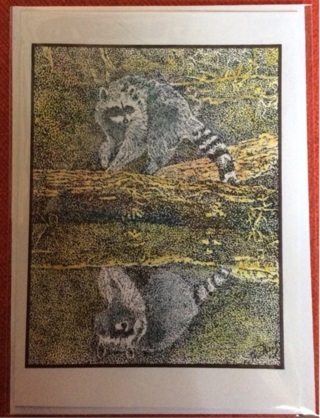 "RACOON REFLECTION - 5 x 7"" art card by artist Nina Struthers - GIN ONLY"
