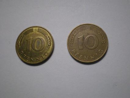 Set of Two 10 Pfennig Coins 1977 J & 1987 G Germany