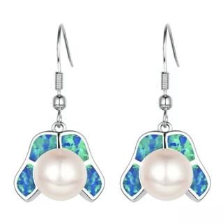 Blue Fire Opal Pearl Earrings