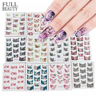 44pcs Nail Art Stickers Sets Beauty Charm DIY French Tips Flower Design Water Transfer Decals Slid
