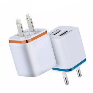 Dual USB Charger 2.1A Fast Charging Universal Travel EU/US Plug Adapter Portabl