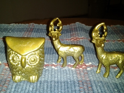 SOLID BRASS DEER AND OWL