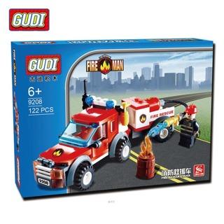 GUDI 122Pcs City Fire Station Fire Rescue Vehicle Minifigure Building Block