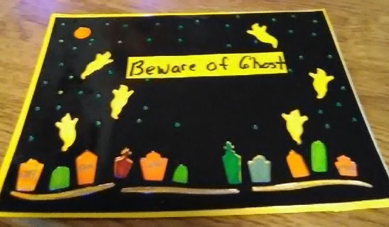 """ Beware Of Ghost ' Design Blank Card with White Envelope"