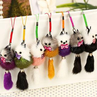 2Pcs Mink Hair Charm Fox Tassel Bag Tag Handbag Keyring Chain Pendant Accessories