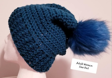 CROCHET SLOUCH HAT SIZE ADULT WOMEN WITH REMOVABLE POMPOM